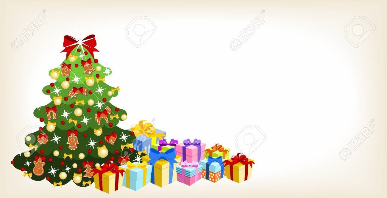 christmas card - tree decorated with gingerbread and ribbons, with pile of colorful gifts Stock Vector - 15328988