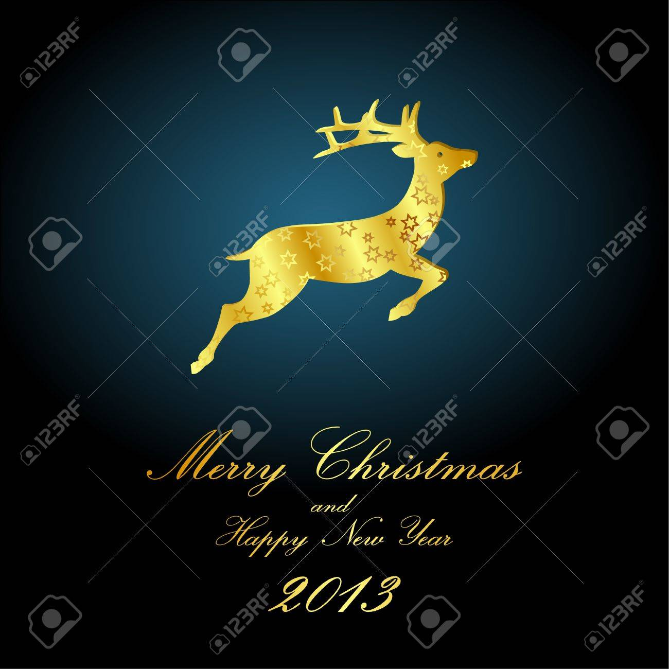 golden deer on night sky, christmas Stock Vector - 15685784