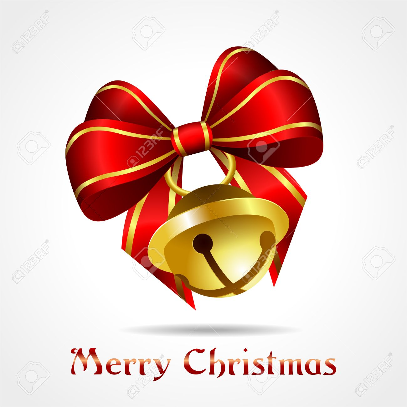 golden jingle bell with red ribbon on white background, christmas