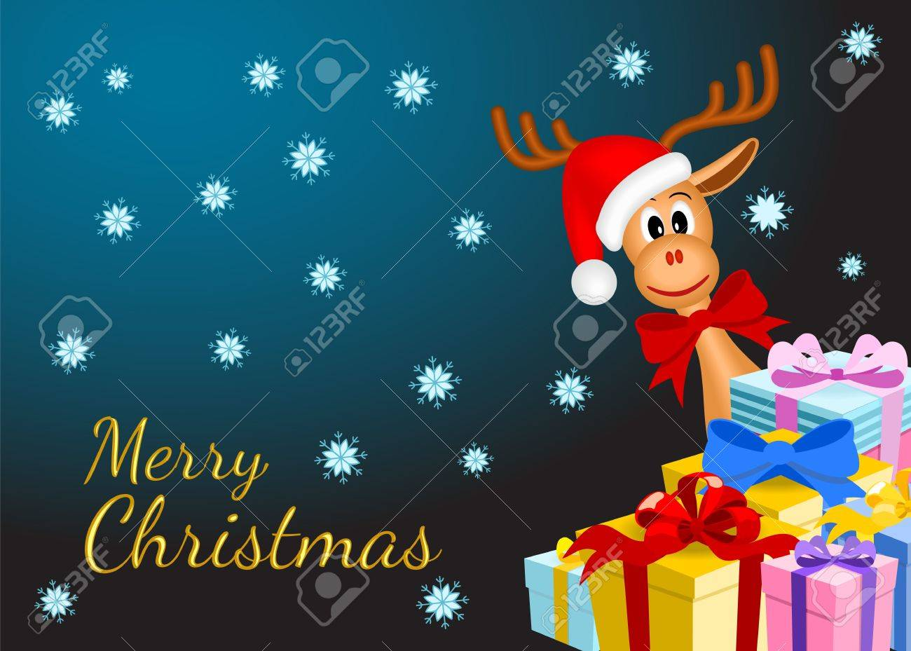 christmas background with funny reindeer and gifts on dark background with snowflakes, vector illustration, eps10 Stock Vector - 15976192