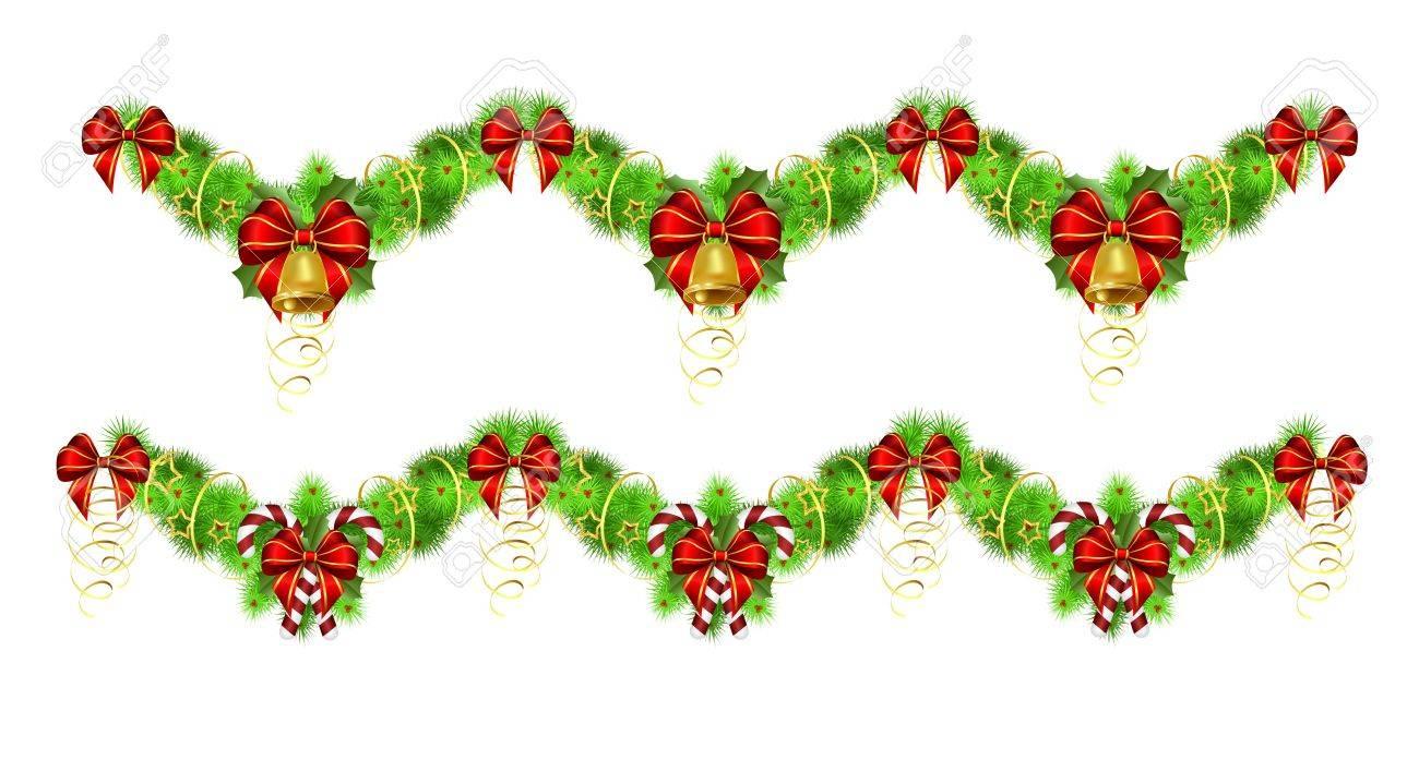 dos guirnaldas de navidad con adornos dorados y rojos ilustracin contiene gradientes y transparencias - Guirnaldas De Navidad