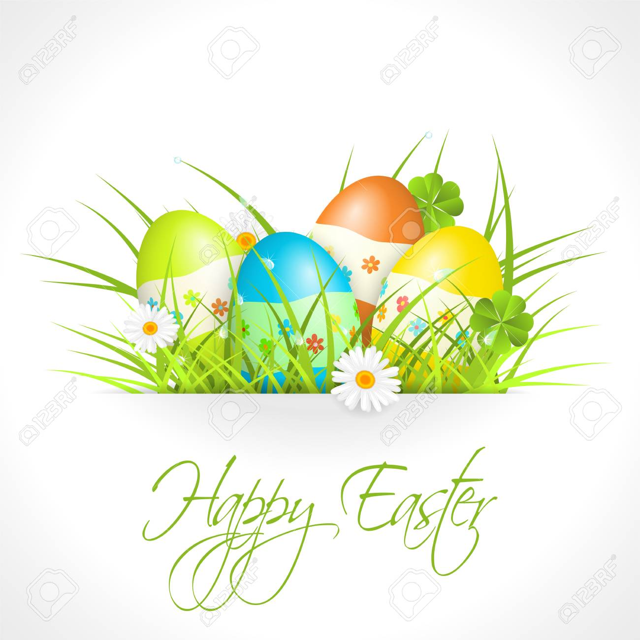 easter eggs in green grass Stock Vector - 17727935