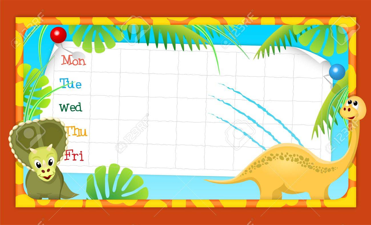 school timetable with merry dinosaurs, vector illustration, eps10, with transparency Stock Vector - 20747924