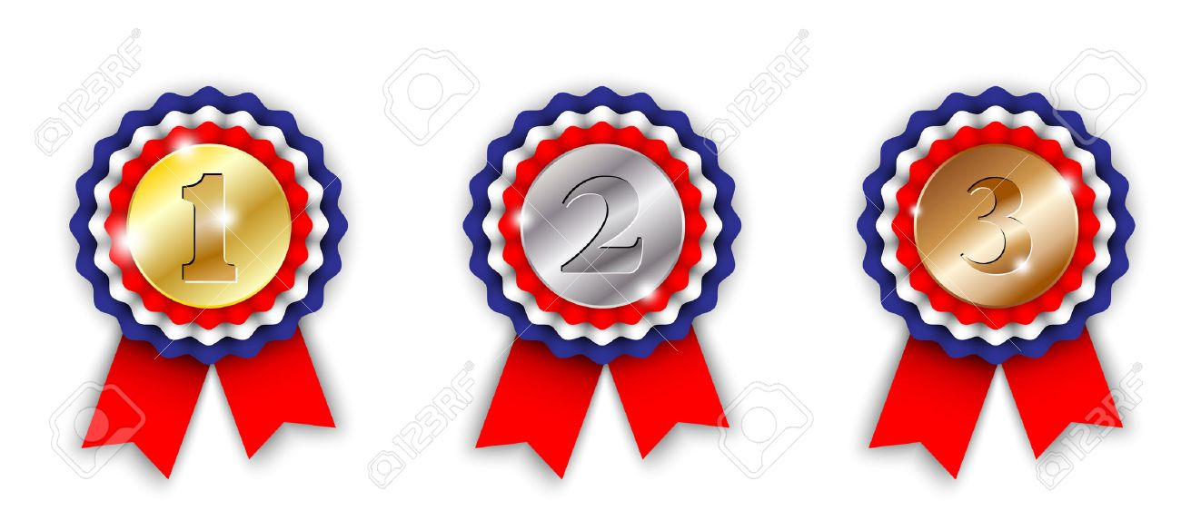 award ribbons 1st 2nd and 3rd place on white background vector