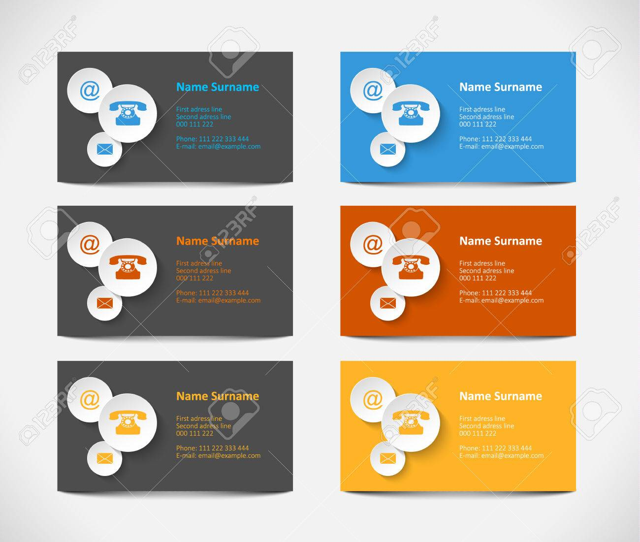 Set Of Visiting Cards With Colorful Icons Vector Illustration