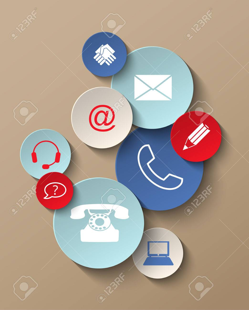 group of colorful contact icons stickers, vector illustration, with transparency - 40977157