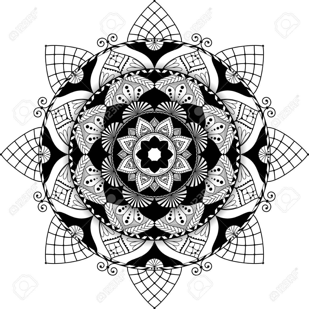 Mandala Ilustración Muy Detallada Antistress Blanco Y Negro Para Colorear Con Efecto 3d