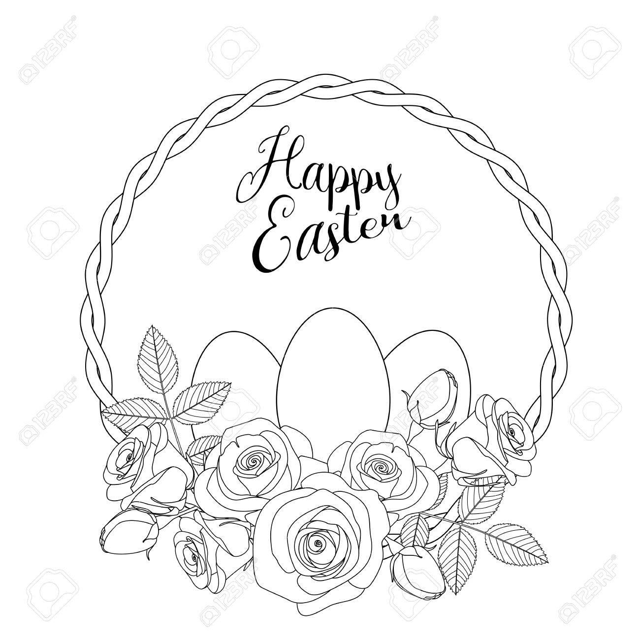 Ostern-Motiv mit weißen Eiern und Rosen, Malvorlagen für Erwachsene,  Vektor-Illustration