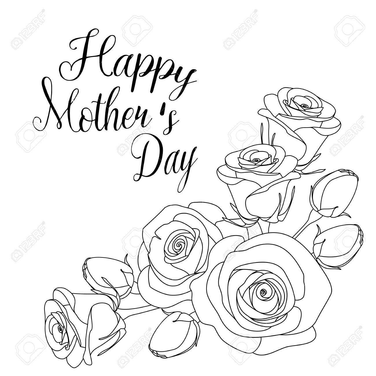 Mothers Day Greeting Card With Roses And Inscription Coloring