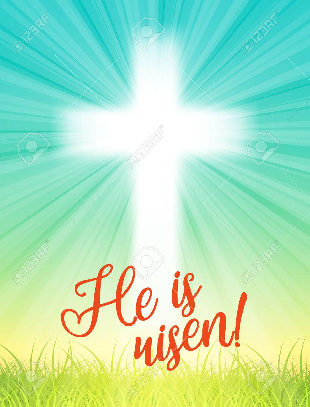 abstract white cross with rays and text he is risen christian