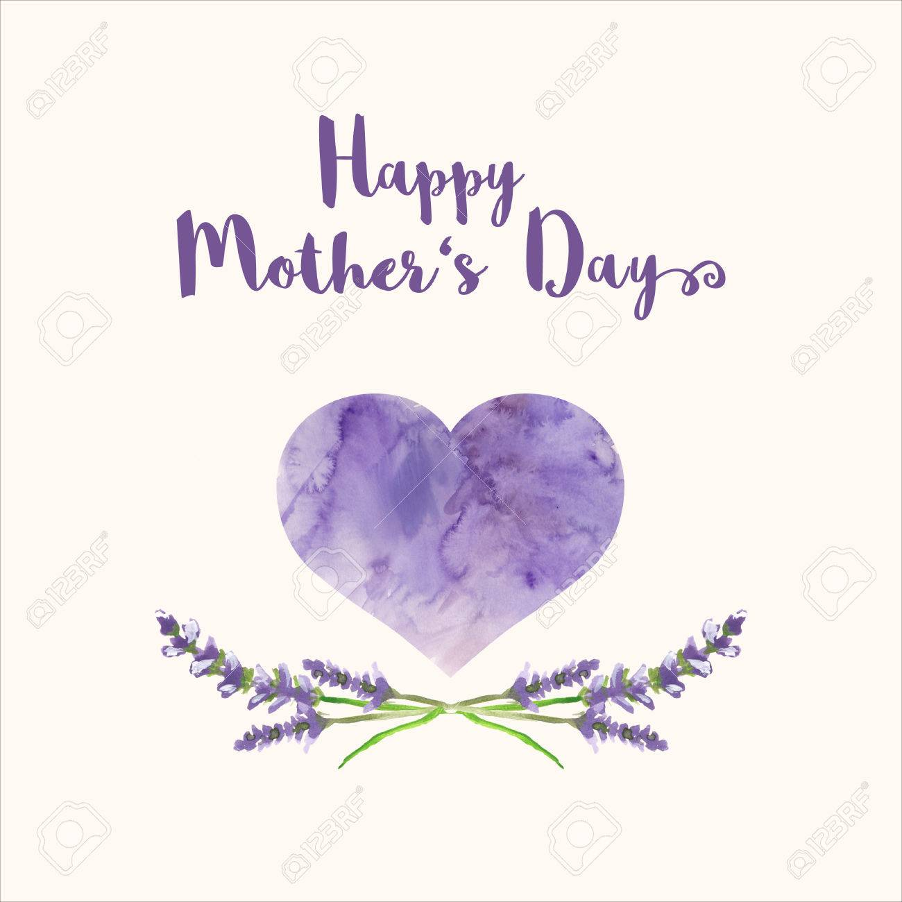 Greeting card with text happy mothers day heart with violet greeting card with text happy mothers day heart with violet watercolor texture and hand painted m4hsunfo