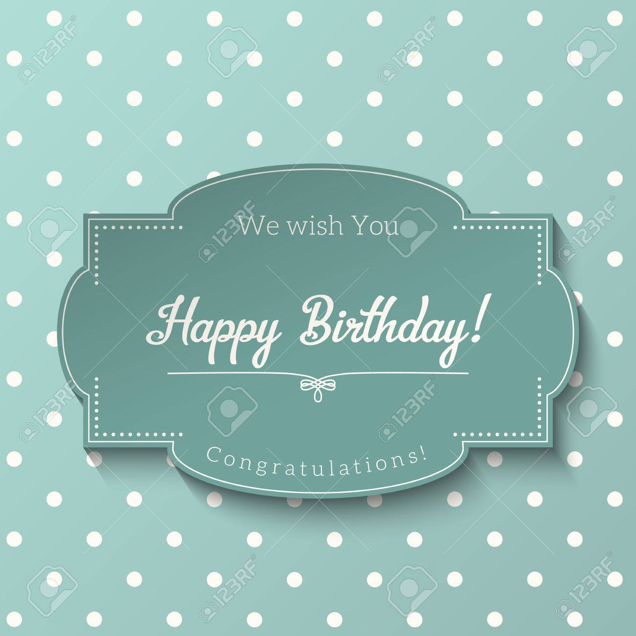 Vintage greeting card with text happy birthday blue sticker vector vintage greeting card with text happy birthday blue sticker on abstract dotted background m4hsunfo