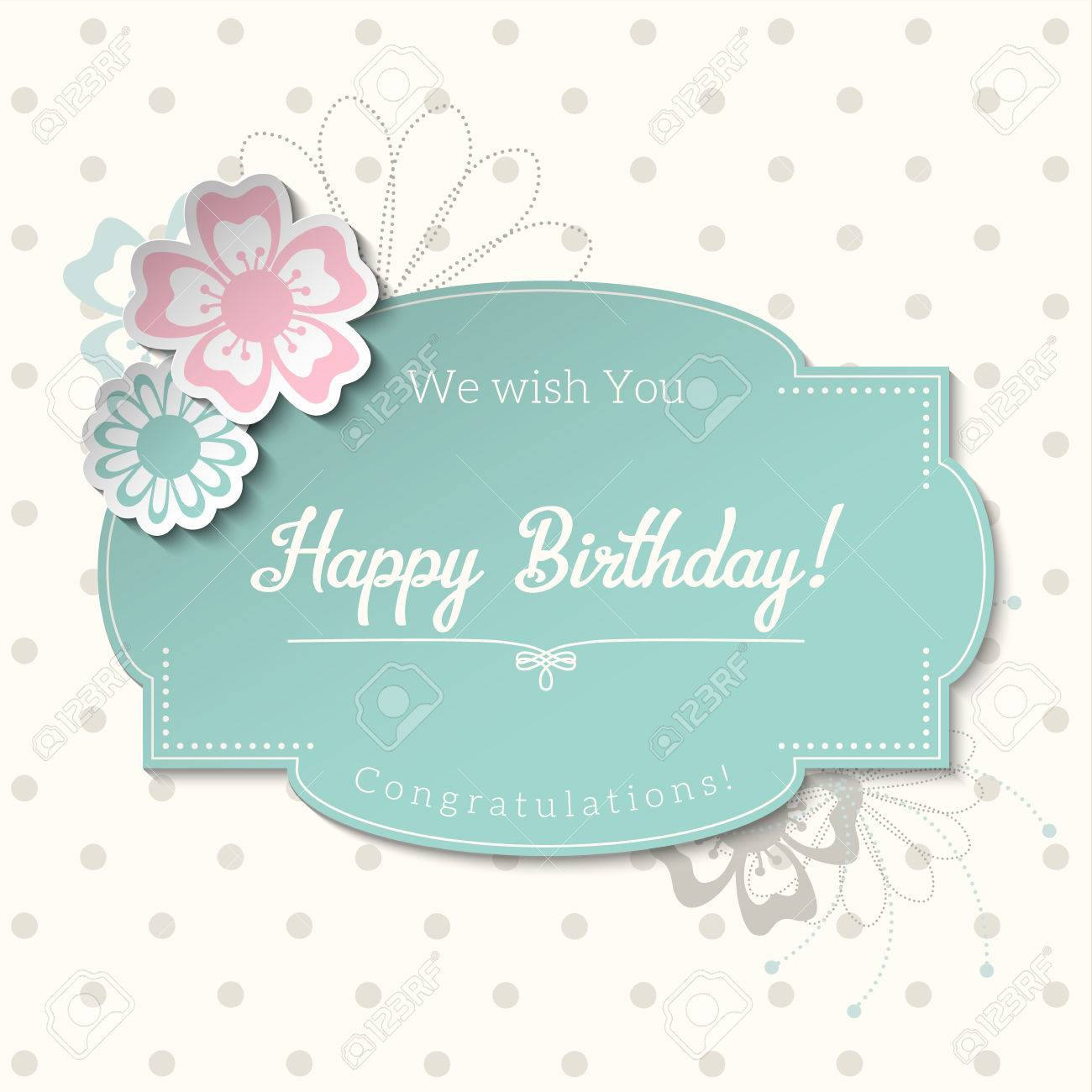 Vector vintage greeting card in shabby chic style with text happy birthday blue sticker on abstract dotted background
