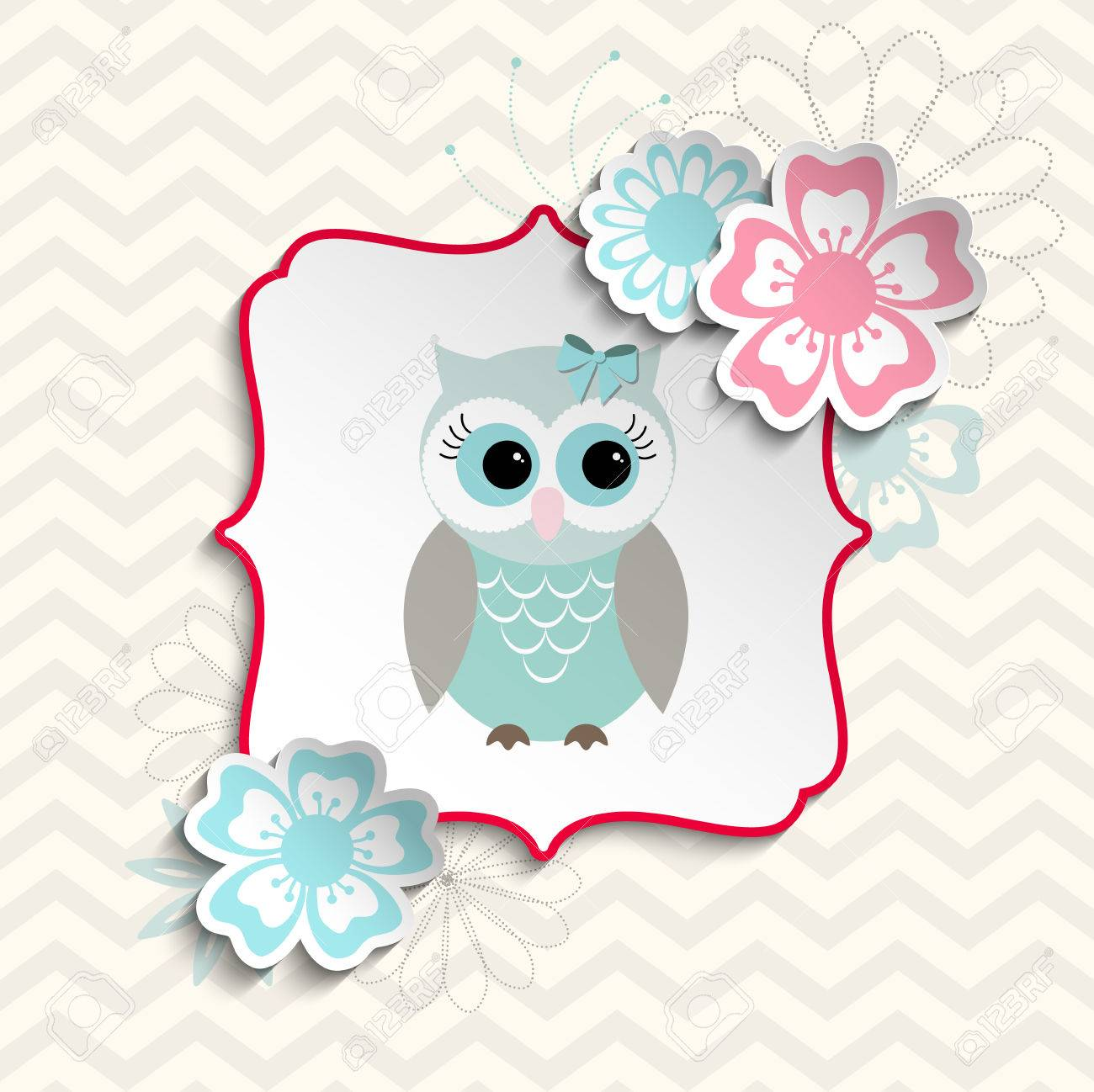 Blue And Gray Cute Owl Sitting In Abstract Shabby Chic Frame With Flowers On Chevron