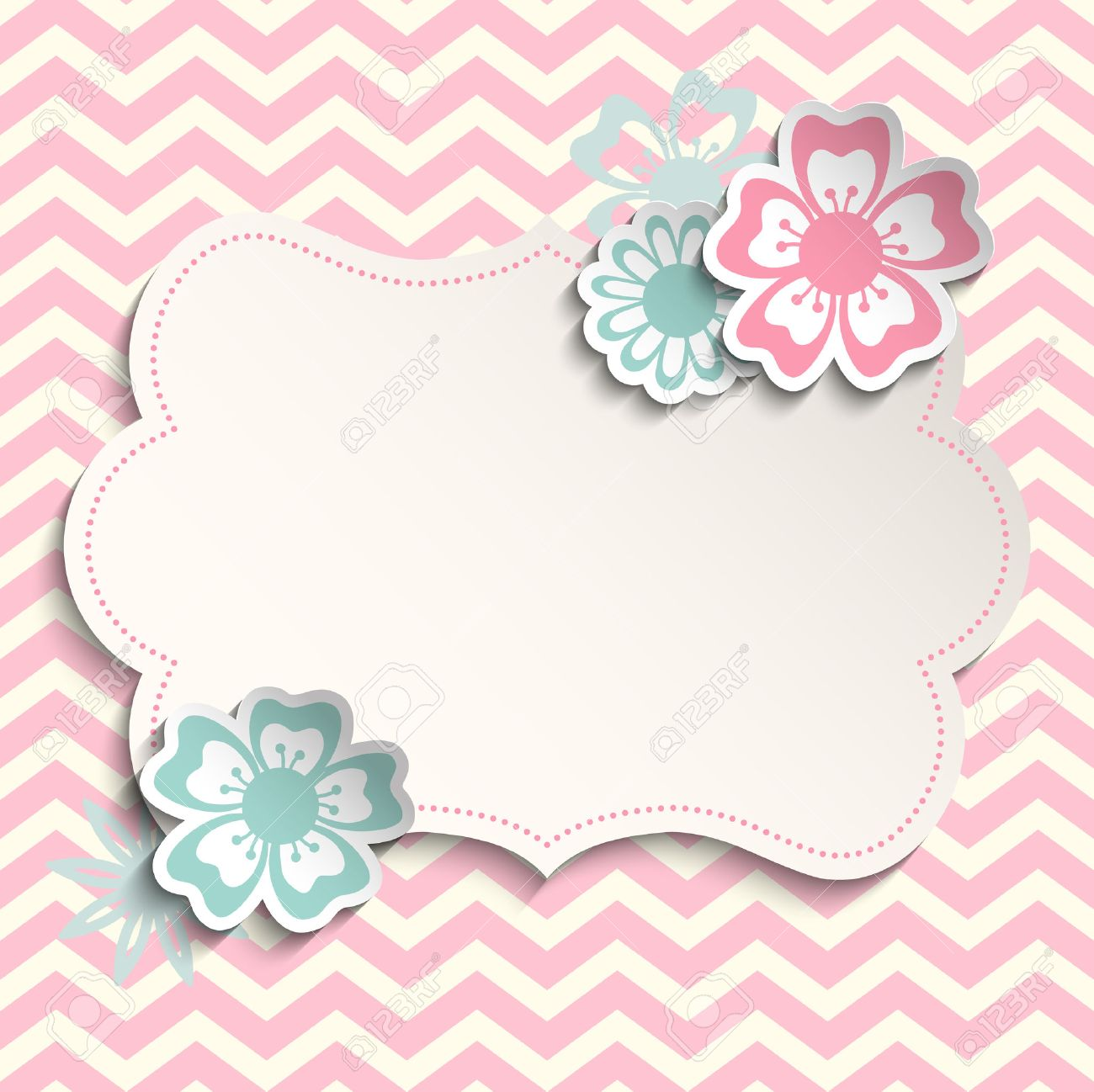Romantic Shabby Chic Template With Flowers On Pink Chevron Background Can Be Used As