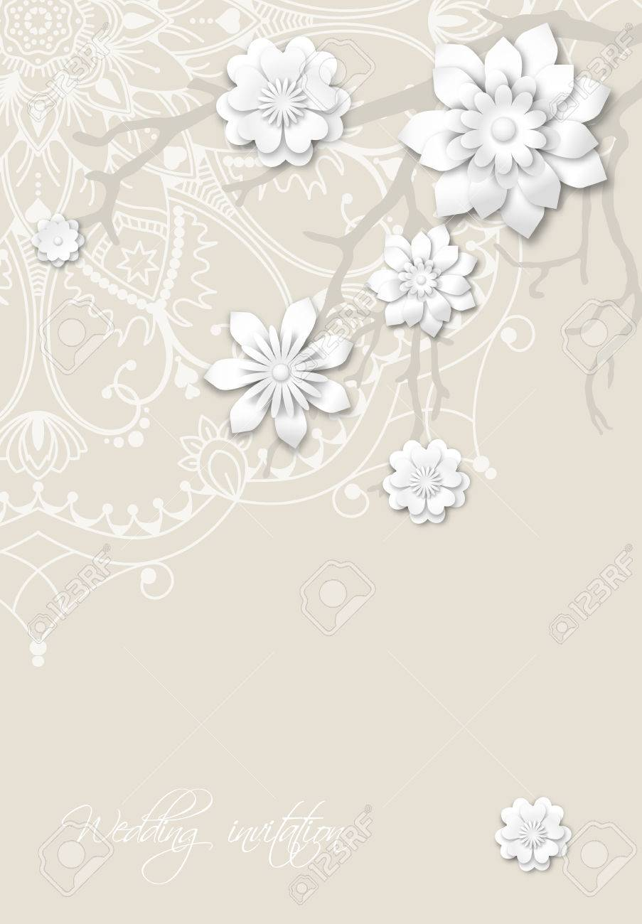 Romantic wedding invitation card with mandala motive and abstract branches with 3d white flowers Stock Vector