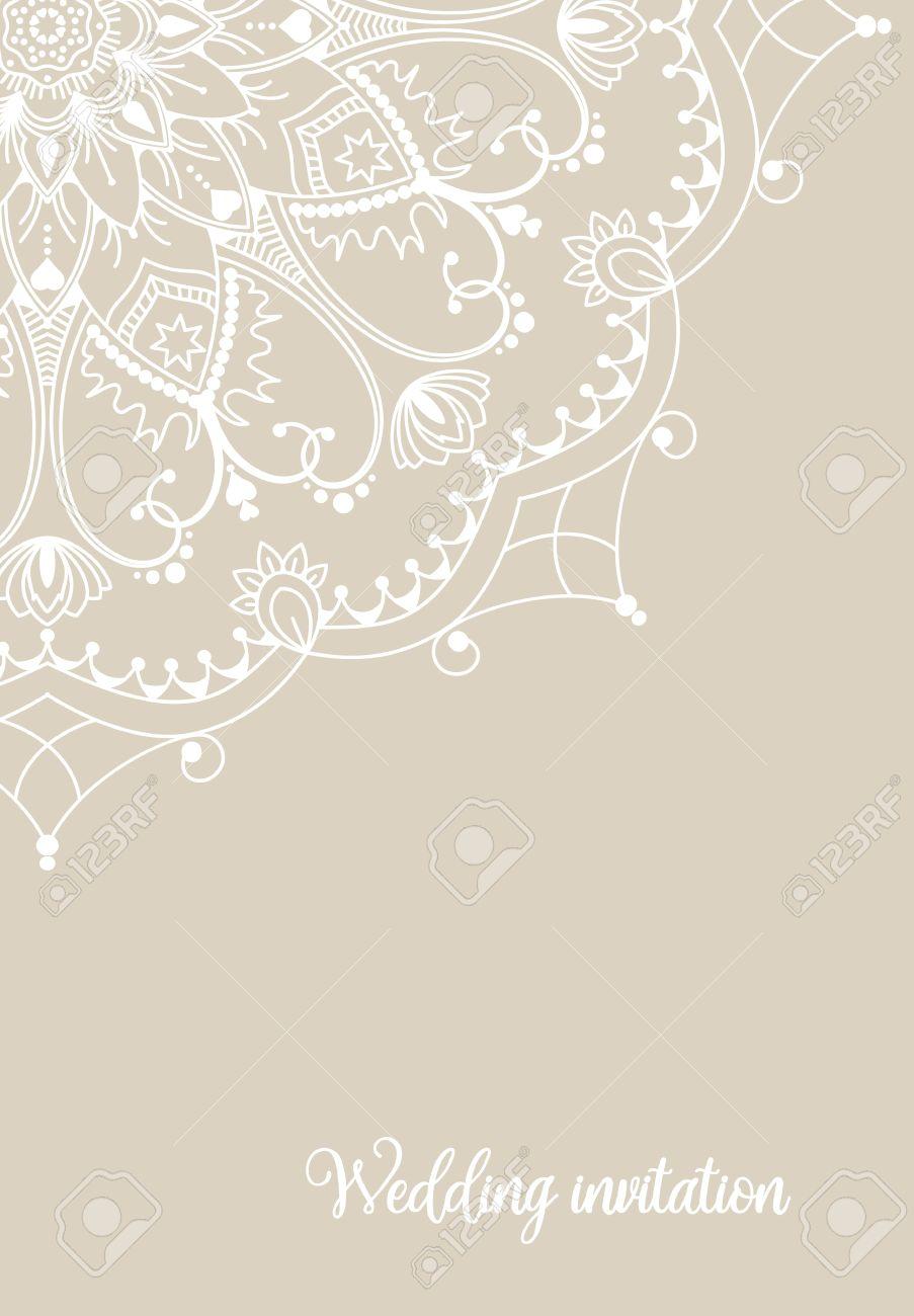 Romantic Wedding Invitation Card With White Mandala On Beige