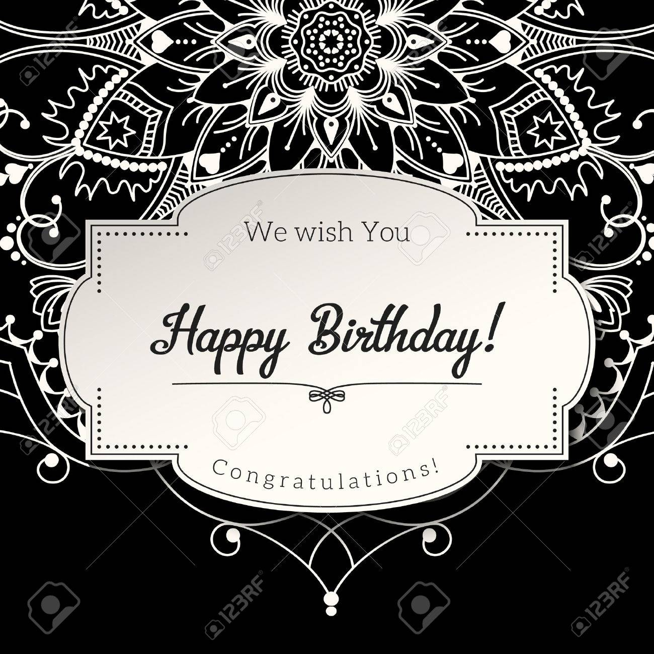 Romantic Birthday Greeting Card With White Mandala On Black