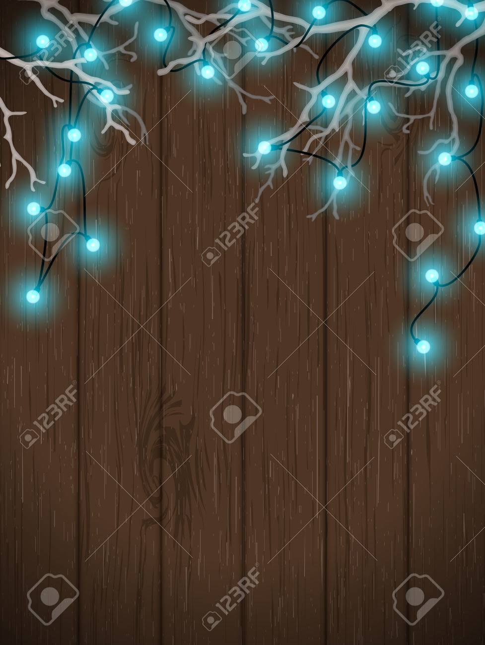 Christmas Background, Blue Electric Lights On Dark Wooden Wall ...