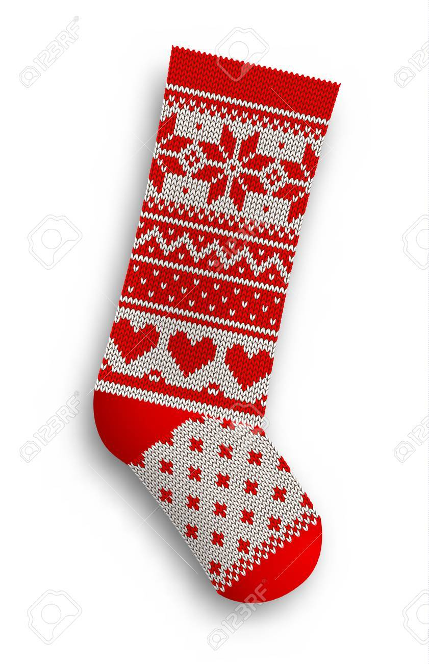 Knitted Christmas Stocking With Red Patterns On White Background ...