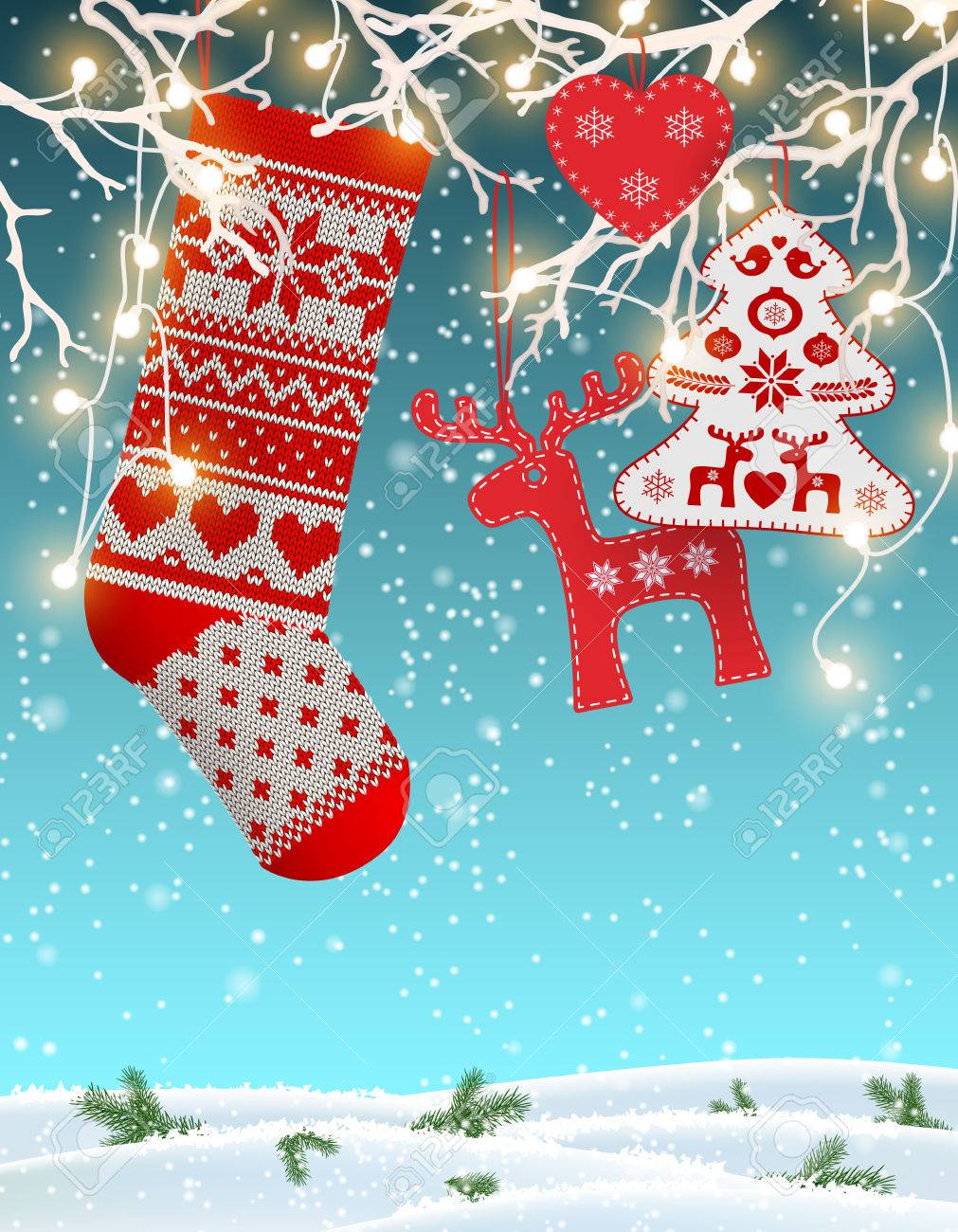 Knitted Christmas Stockings.Red Knitted Christmas Stocking With Nordic Patterns With Some
