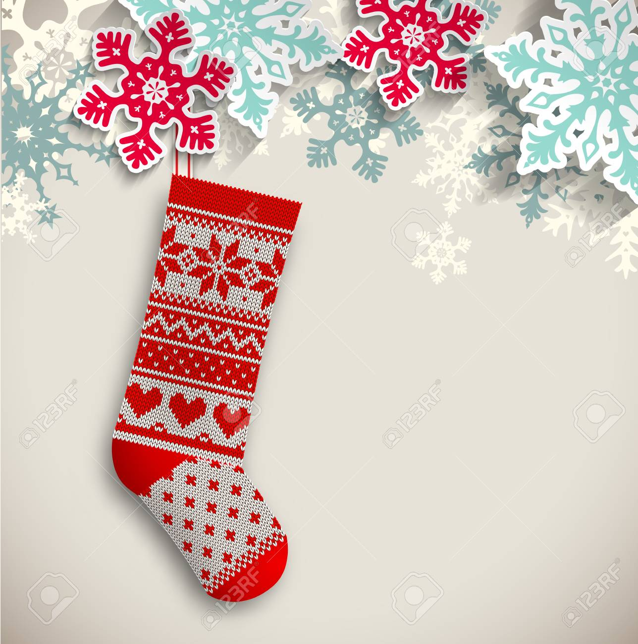 Knitted Christmas Stocking With Abstract Snowflakes On Beige ...