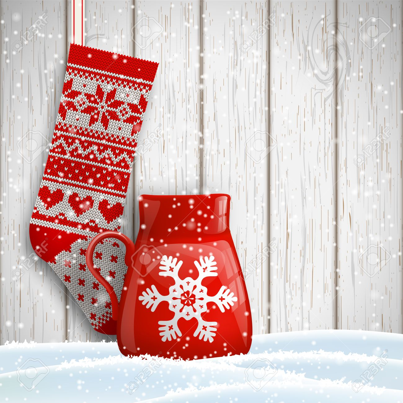Knitted Christmas Stocking With Red Patterns And Red Tea Cup ...
