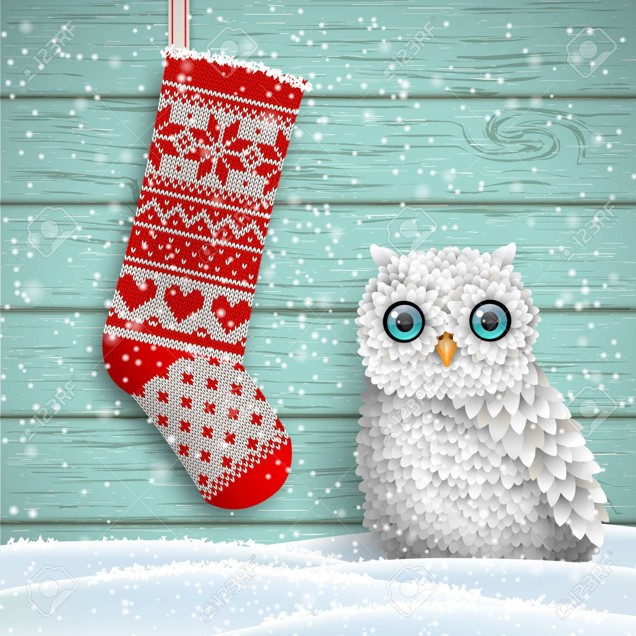 Knitted Christmas Stocking With Red Patterns And Cute White Owl ...