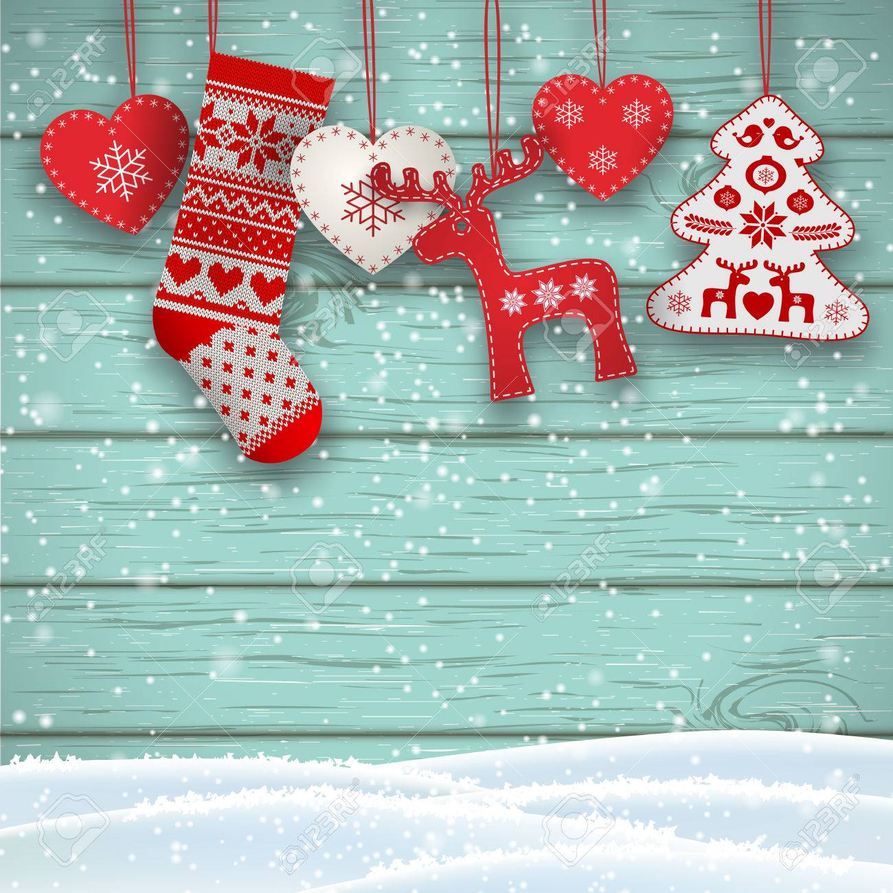 Hanging Christmas Decorations Wall.Group Of Hanging Christmas Decorations In Scandinavian Style