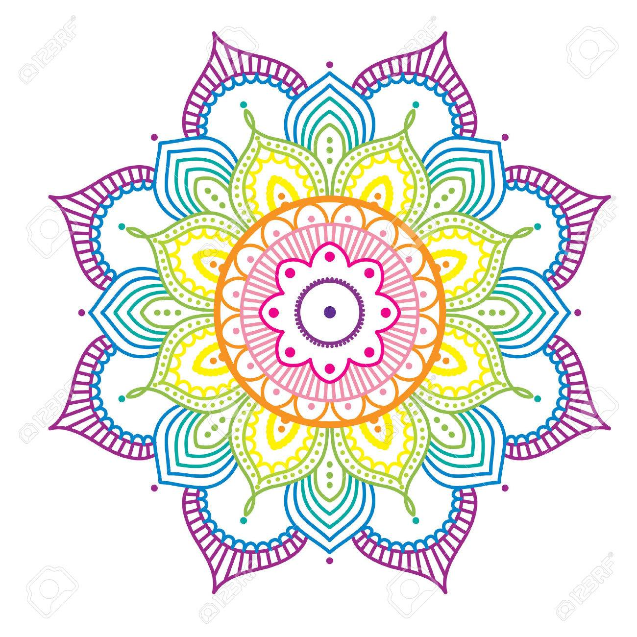 Rainbow Colorido Mandala Sobre Fondo De Color Rosa Ilustración