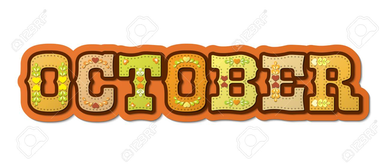 October, illustrated name of calendar month, illustration - 87570194