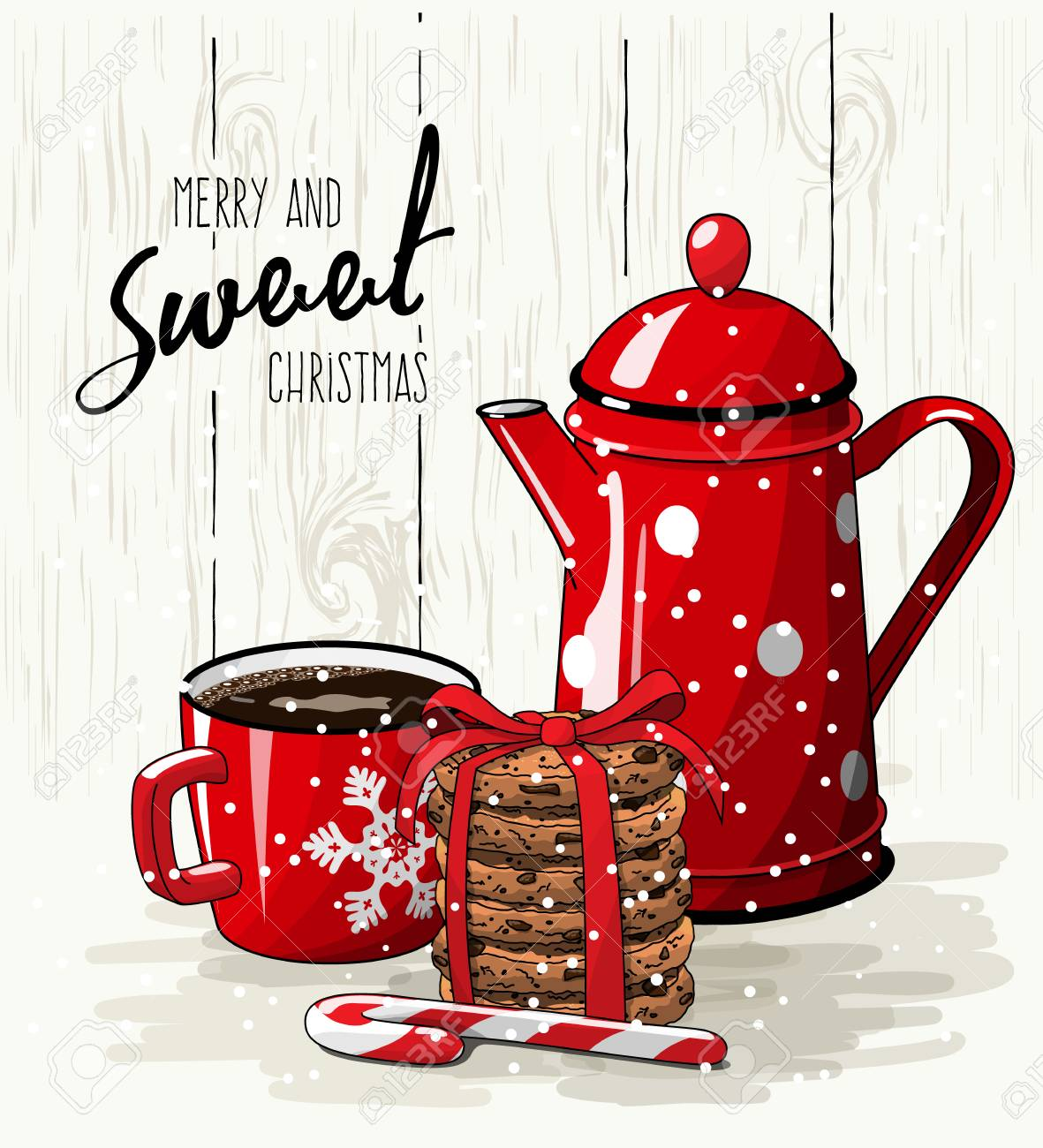 Christmas theme, Christmas theme, red cup of coffee, candy cane, stack of cookies and tea pot, with text Merry and sweet Christmas on bright illustration, eps 10 with transparency - 89274479