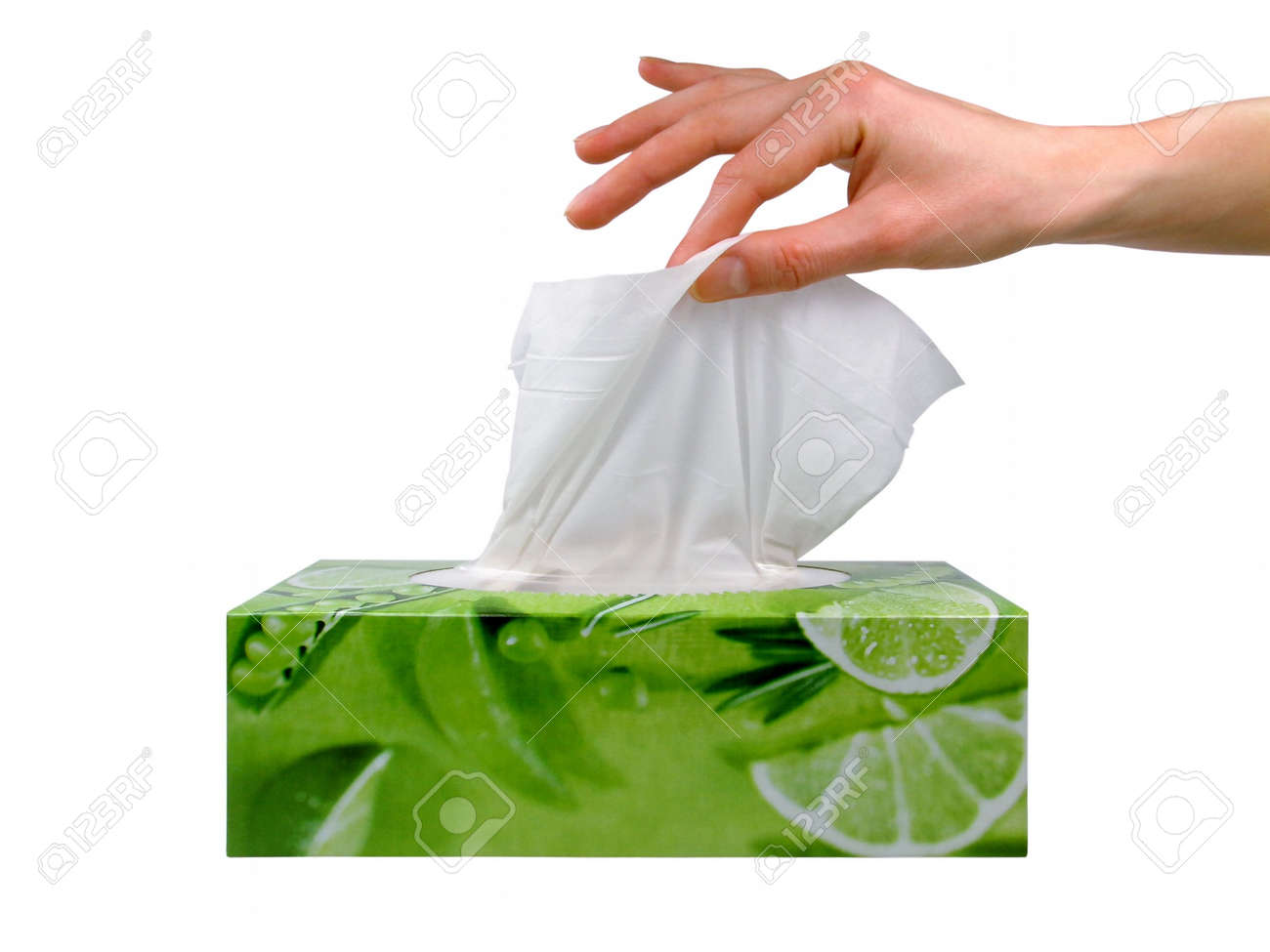 delicate woman s hand pulls a tissue from a green tissue box stock