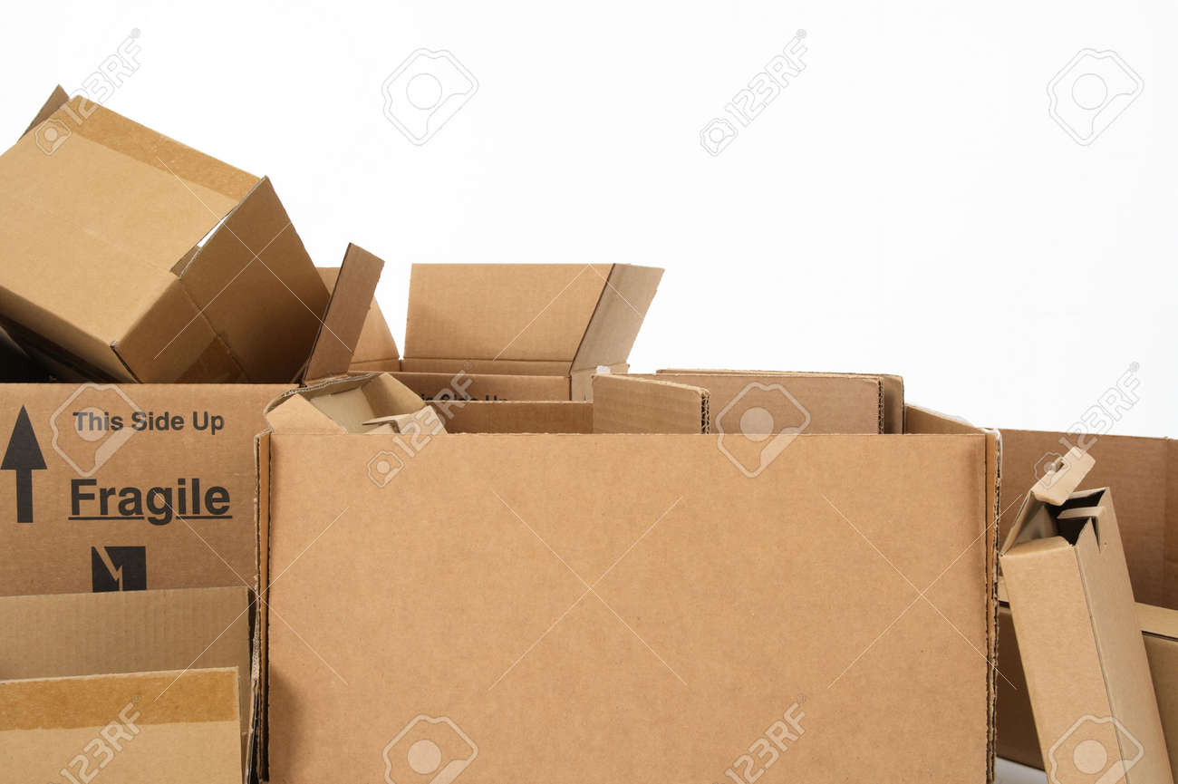 Closeup of open empty cardboard boxes. Stock Photo - 2710221