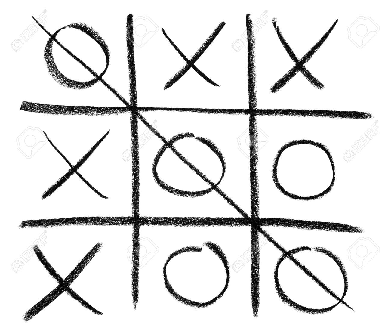 Hand Drawn Tic Tac Toe Game Isolated On White Stock Photo