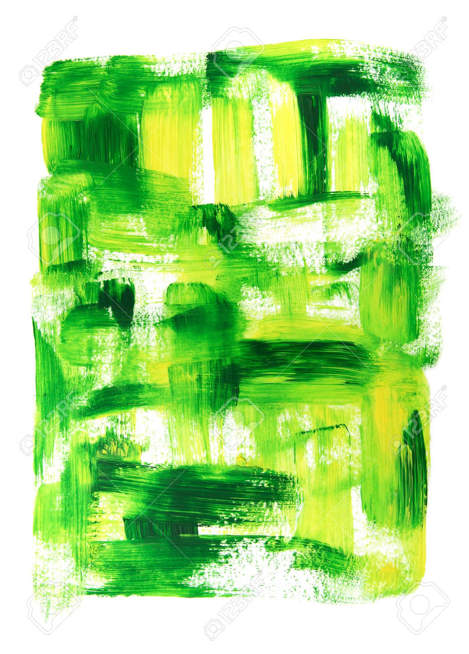 Vibrant green and yellow oil painting. Hand-painted abstract background. Stock Photo - 3898086