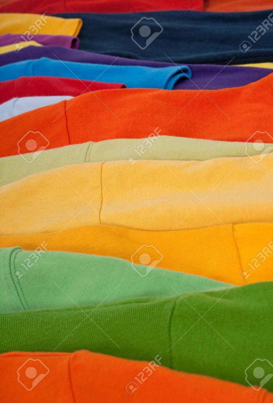 Close-up of colorful clothing, abstract striped background. Stock Photo - 8189024