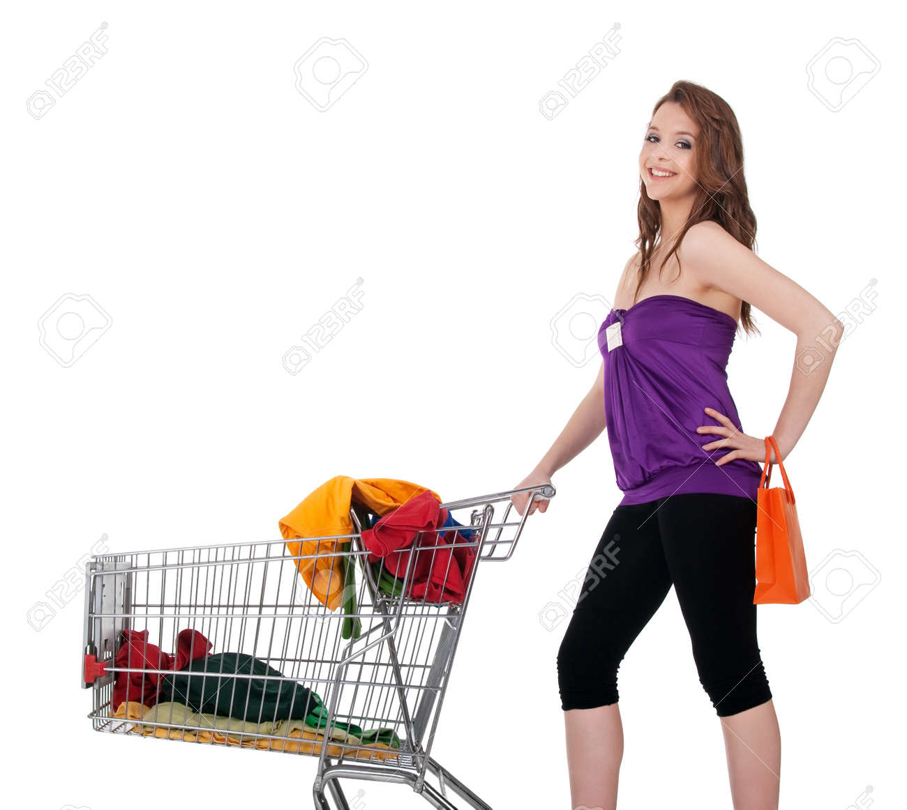 Young Girl With Shopping Cart Buying Colorful Clothes, Isolated ...