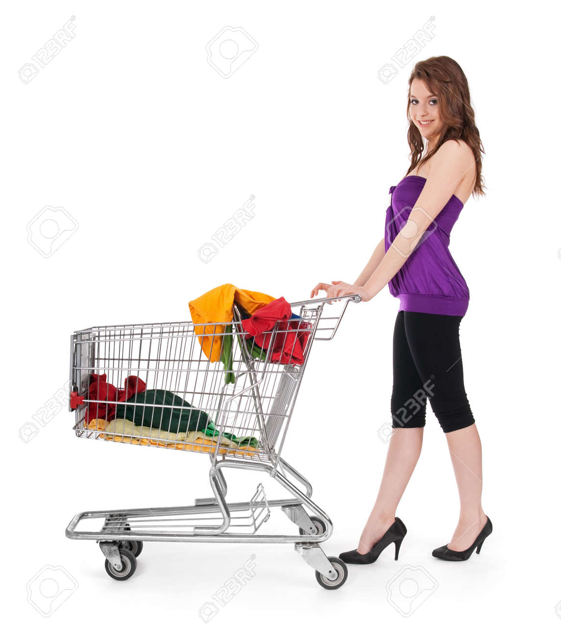 Pretty Girl With Shopping Cart Buying Colorful Clothing, Isolated ...