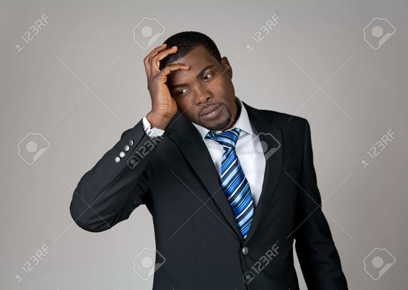 Business going wrong. African American businessman looking frustrated. Stock Photo - 10763847