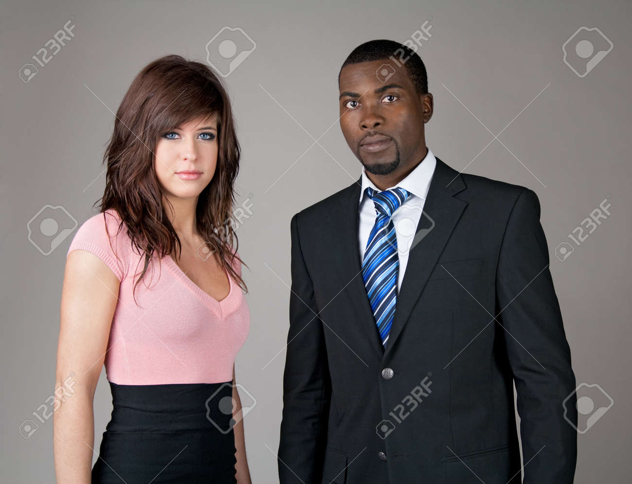 Portrait of young business partners, Caucasian woman and African American man Stock Photo - 12972856