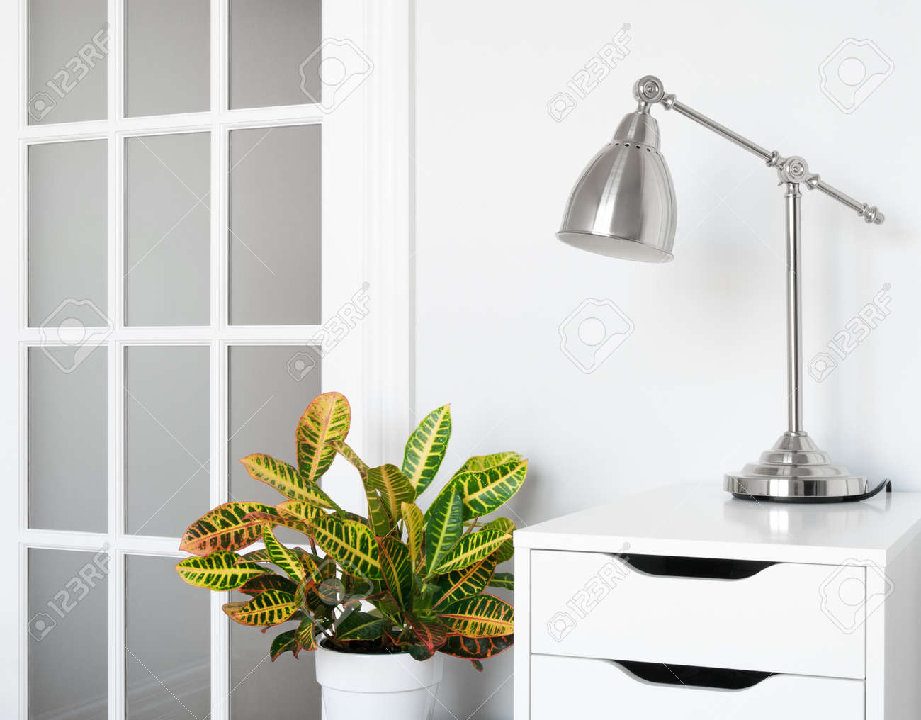 Modern room decor  Green plant, stylish furniture and lighting Stock Photo - 15866585
