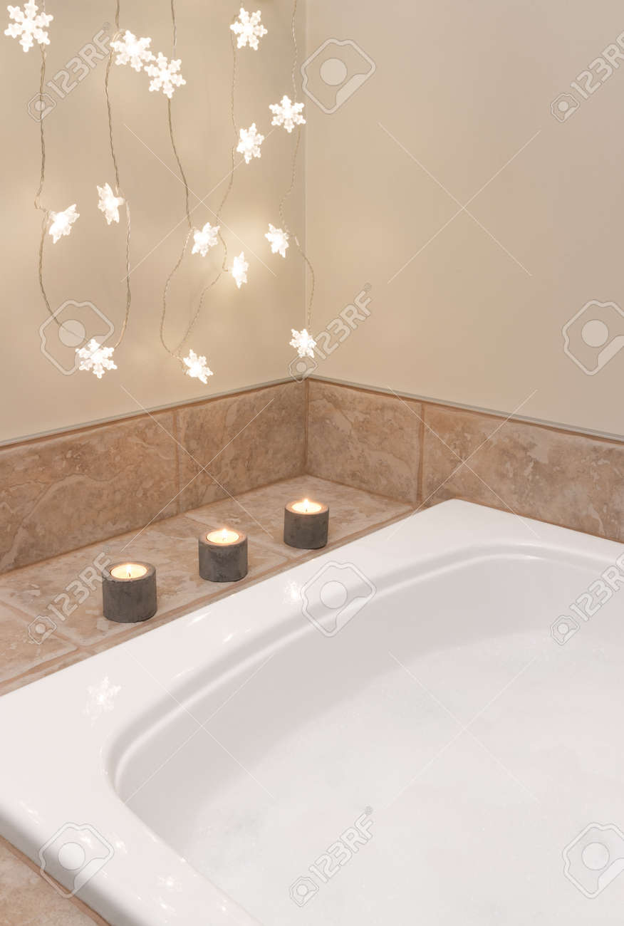 Bath With Foam Bathroom Decorated With Cozy Lights And Candles Stock Photo    17045046