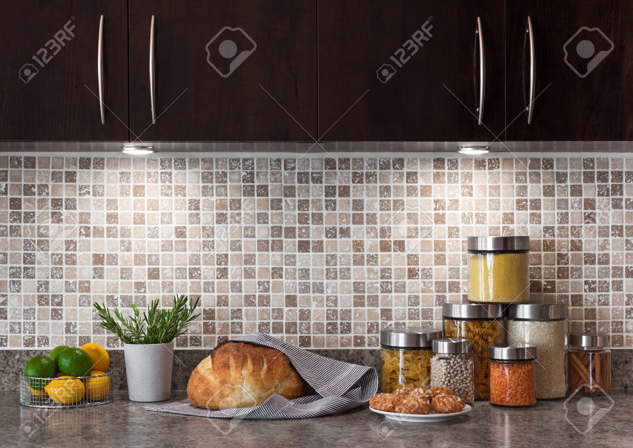 Kitchen Counter With Food kitchen counter closeup stock photos & pictures. royalty free
