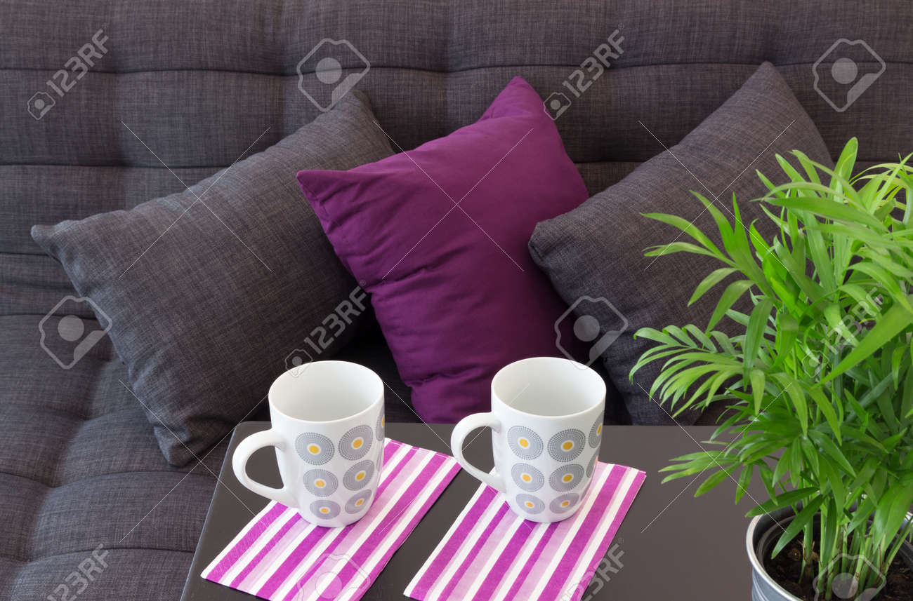 Sofa decorated with cushions, two cups on a table and green plant Stock Photo - 19862988