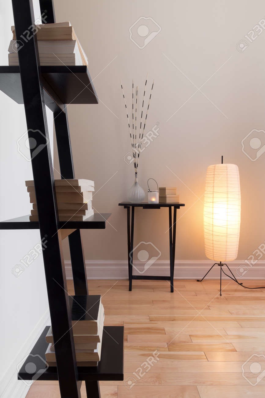 Room With Contemporary Decor Floor Lamp And Bookshelf Stock Photo