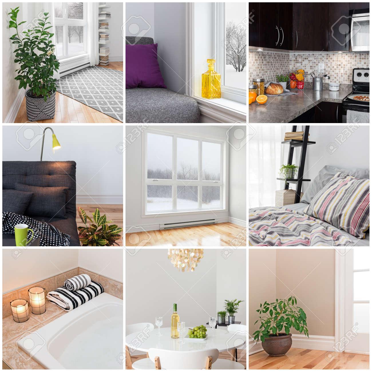 Moderne woning woonkamer, eetkamer, slaapkamer, keuken, badkamer ...