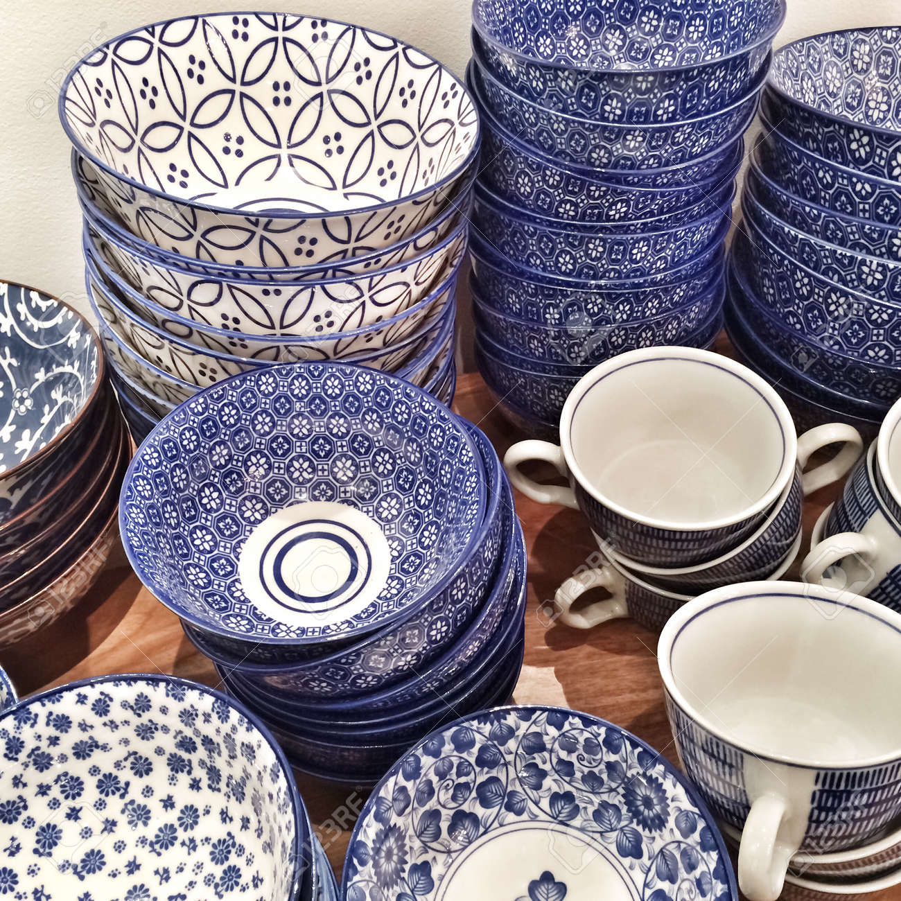 Collection of blue ceramic plates and cups Stock Photo - 28265365 & Collection Of Blue Ceramic Plates And Cups Stock Photo Picture And ...