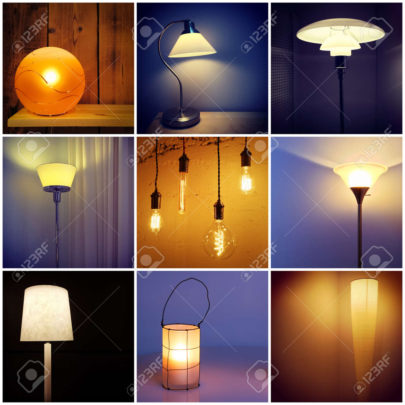 styles of lighting. different styles of modern lamps. decorative lighting. collage nine photos. stock photo lighting