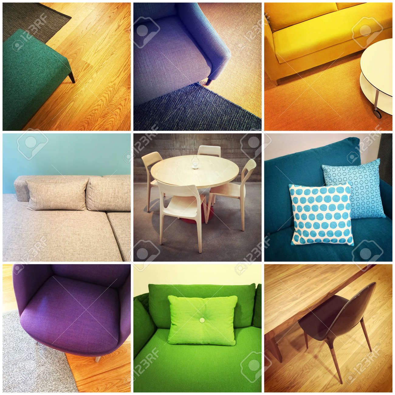 Bunte Moderne Möbel. Interior Design, Collage Von Neun Fotos ...